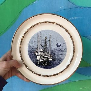 VINTAGE PARTY ASHTRAY with oil rig drilling print